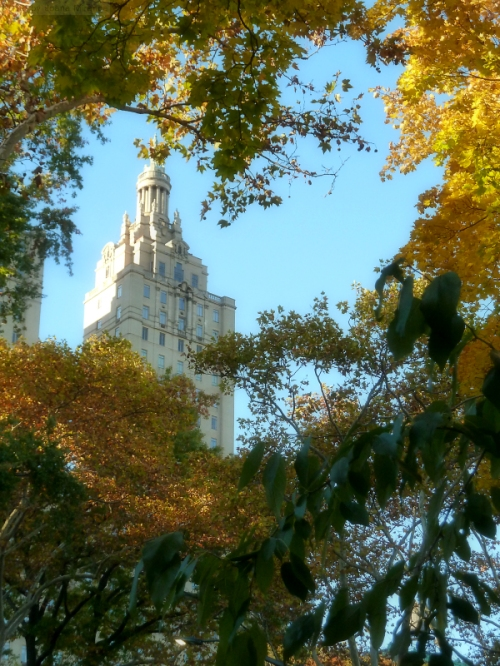 San Remo towers through the fall foliage