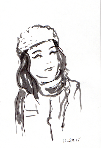 Sketch of woman in knit cap