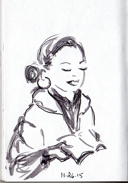 sketch of woman reading on the subway