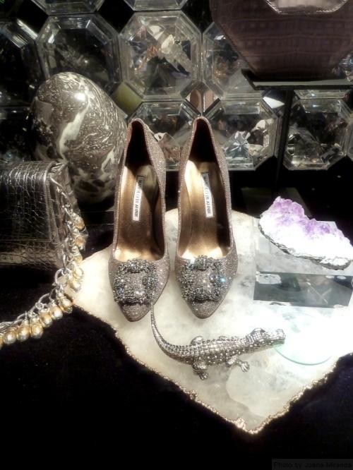 Manolo Blahnik heels in Bergdorf's 2015 Holiday windows