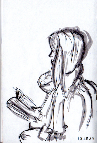 Sketch of girl with long straight hair reading on the subway