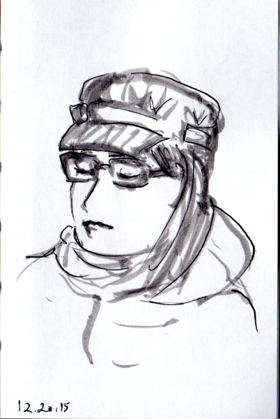 Sketch of woman in engineer's cap on the subway