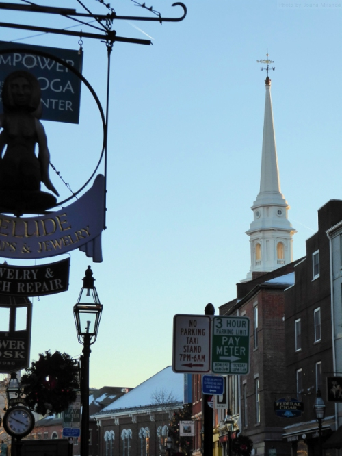 many signs in downtown Portsmouth, NH