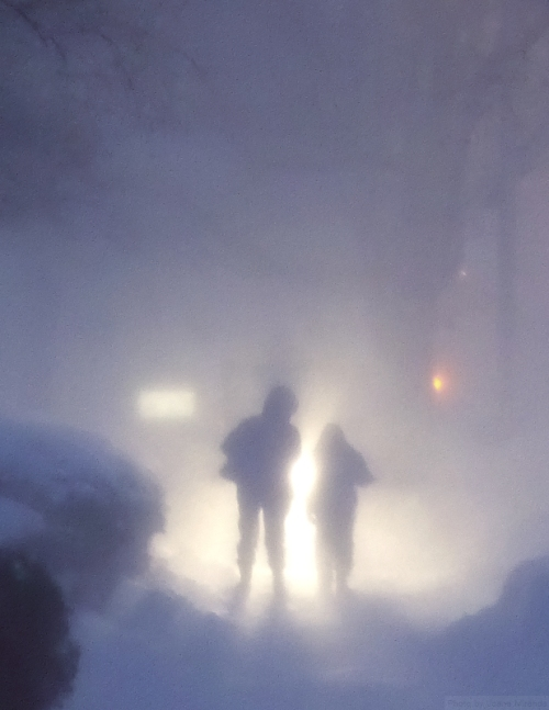 Parent and child walking in Winter Storm Jonas