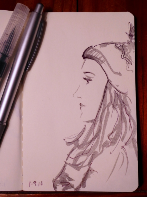 sketch of young woman wearing a ski hat