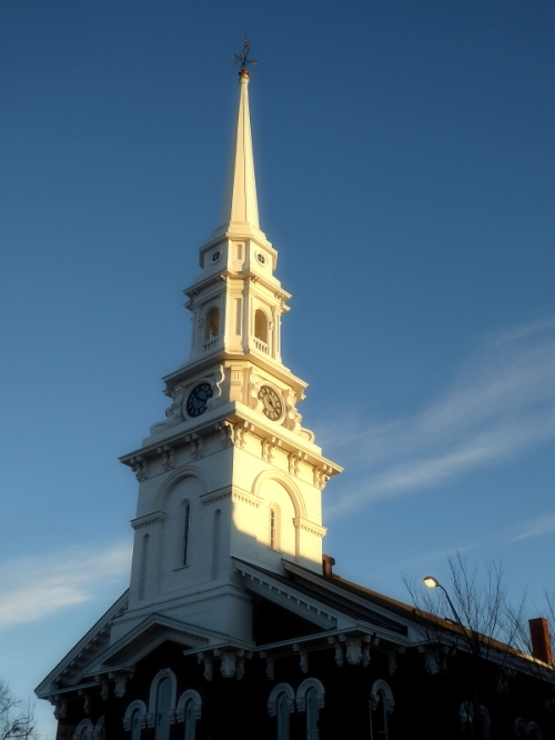 White steeple in Portsmouth, NH