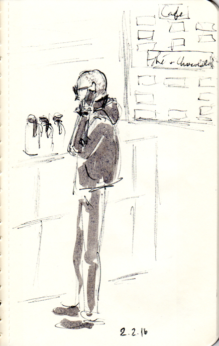 quick pen and ink sketch of man at Eric Kayser