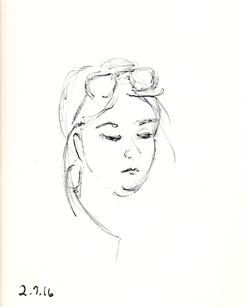 quick pen sketch of woman's face