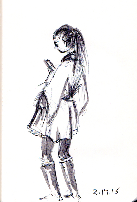 quick sketch of woman in yellow cape coat