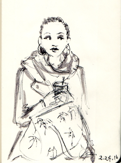 Quick sketch of woman with large satchel