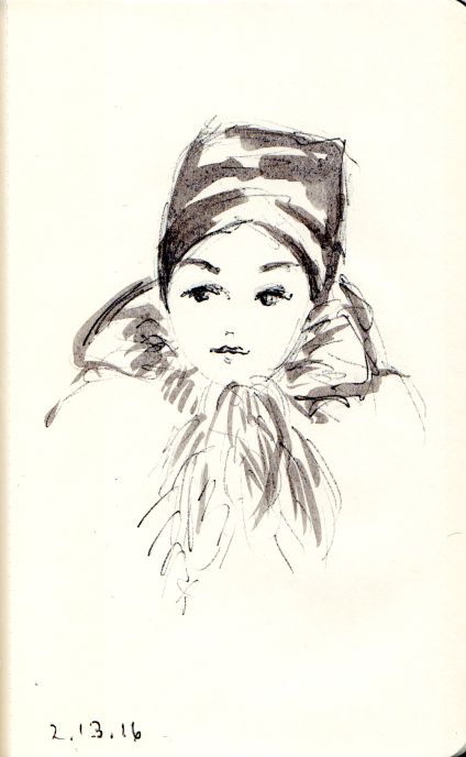 Woman with furry scarf