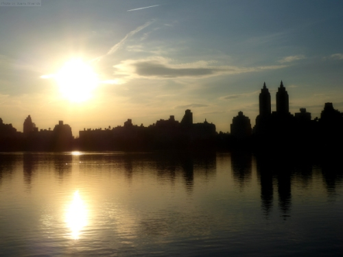 Manhattan skyline over the Jackie O reservoir