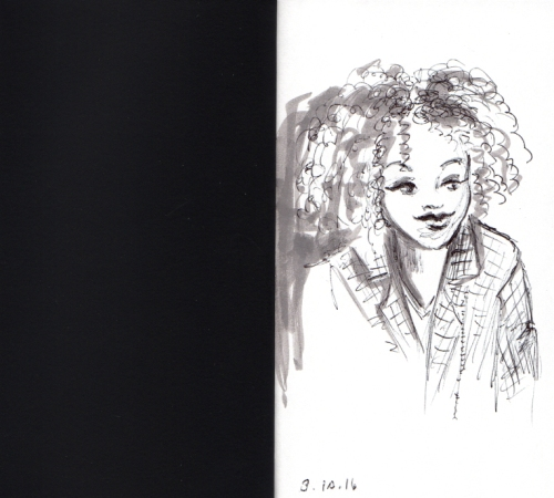 quick sketch of cute African American Girl
