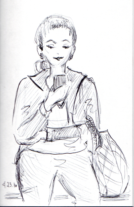 pen sketch of woman looking at her cell phone