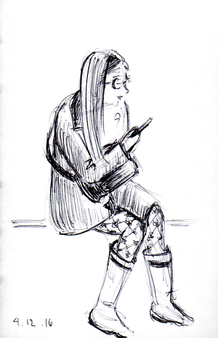 quick sketch of woman with rain boots