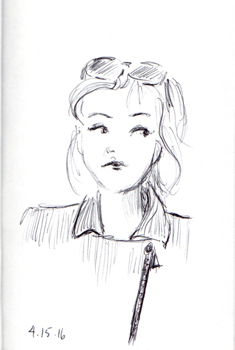 quick sketch of woman with sunglasses on the top of her head