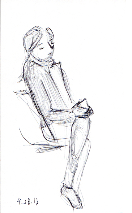 Girl sitting on the subway