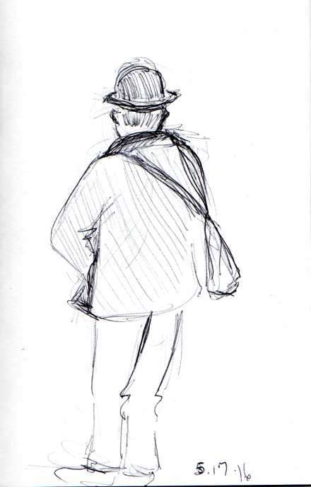 Quick sketch of man with top hat as seen from behind