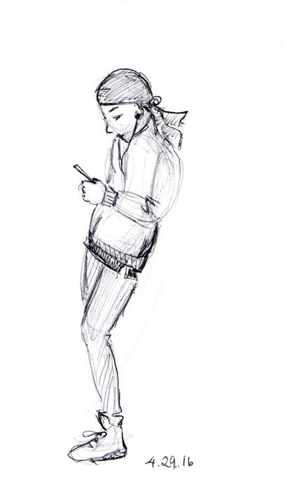 Sketch of slouching man with head scarf