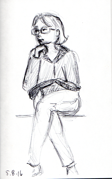 Sketch of woman lost in thought on the subway