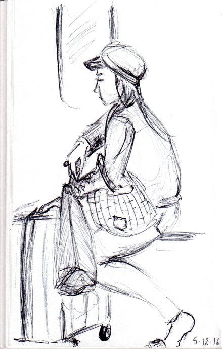 Sketch of woman with suitcase and bags on the subway
