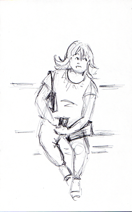 Quick cartoonish sketch of woman on the subway