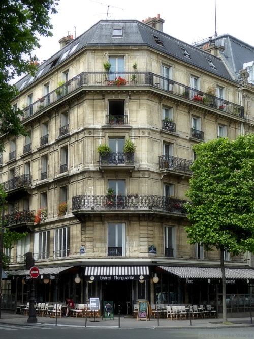 Typical corner building in Paris