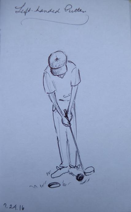 Quick ink sketch of left-handed putter