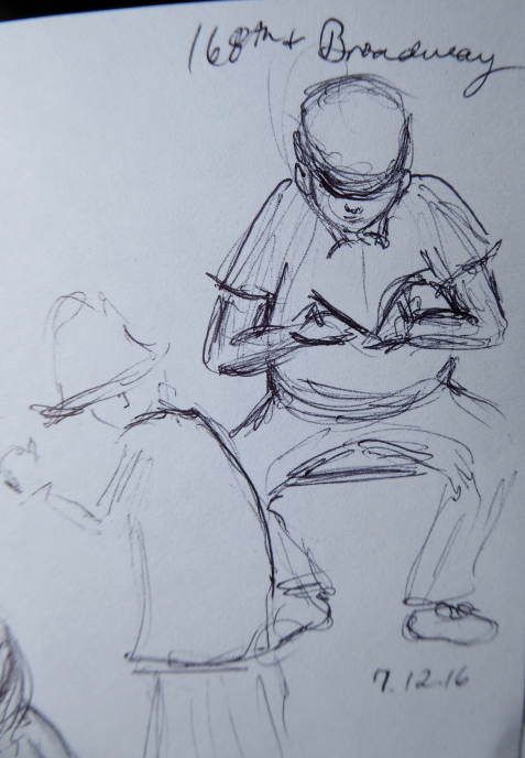 Quick ink sketch of man seated at a bus stop reading