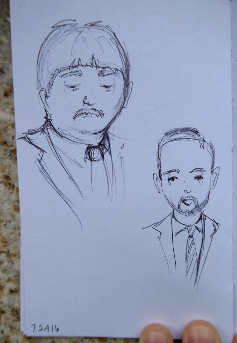 Quick ink sketches of news figures