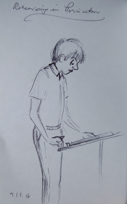 Quick sketch of a conductor looking at his music
