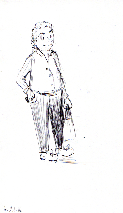 Quick sketch of cheerful middle aged man
