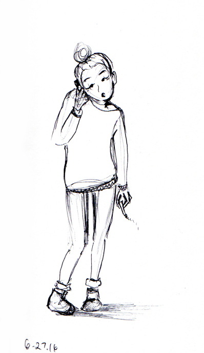 Quick sketch of Parisian girl smoking