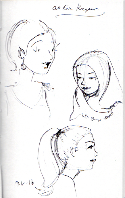 three female head sketches