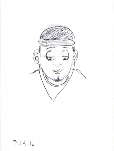 cartoon-sketch-of-young-aftrican-american-man-with-baseball-cap-and-ear-buds