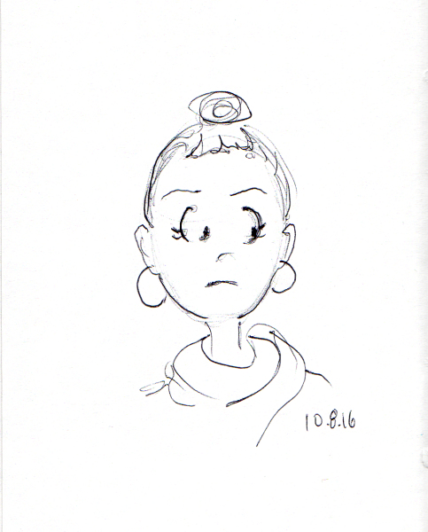 cartoon-quick-sketch-of-young-woman-with-bun-hairdo