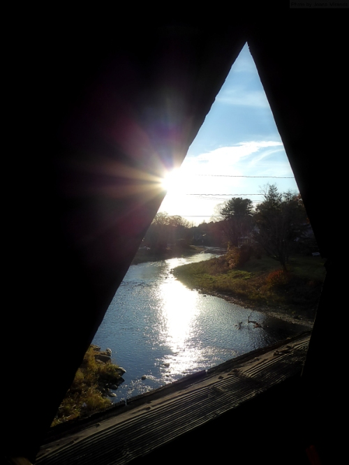 Photo taken on covered bridge in Woodstock, VT in the late fall by Joana Miranda