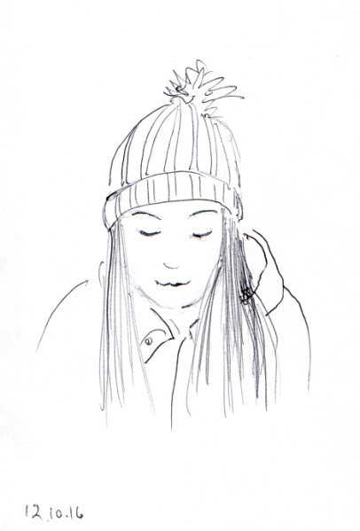 quick-sketch-of-woman-with-knit-cap-and-straight-long-hair
